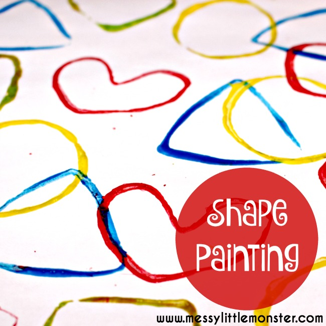 2D shape painting activity for toddlers and preschoolers. Learn shapes and colours using shape stamps made from toilet roll tubes. An easy DIY gift wrap idea for kids.