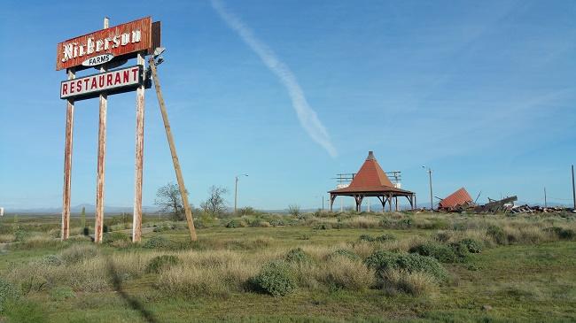 Abandoned Nickerson Farms Family Restaurant ruins near Picacho, Arizona