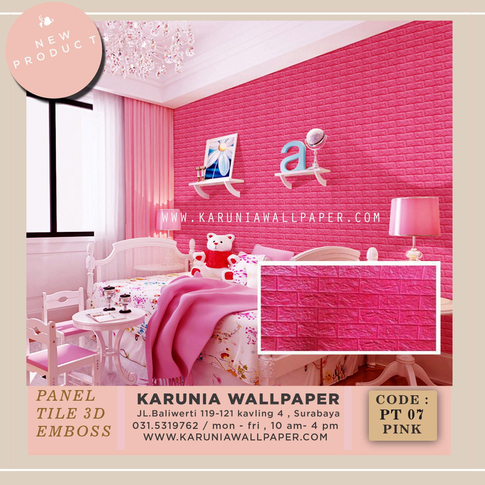 jual wallpaper dinding kamar anak pink 3 dimensi emboss surabaya