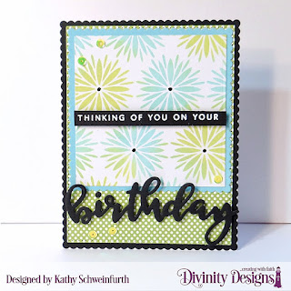 Divinity Designs Custom Dies: Scalloped Rectangles, Pierced Rectangles, Scalloped Squares, Squares, Mixed Media Stencil:  Flower Burst, Stamp/Duos: Birthday, Paper Collection: Birthday Brights