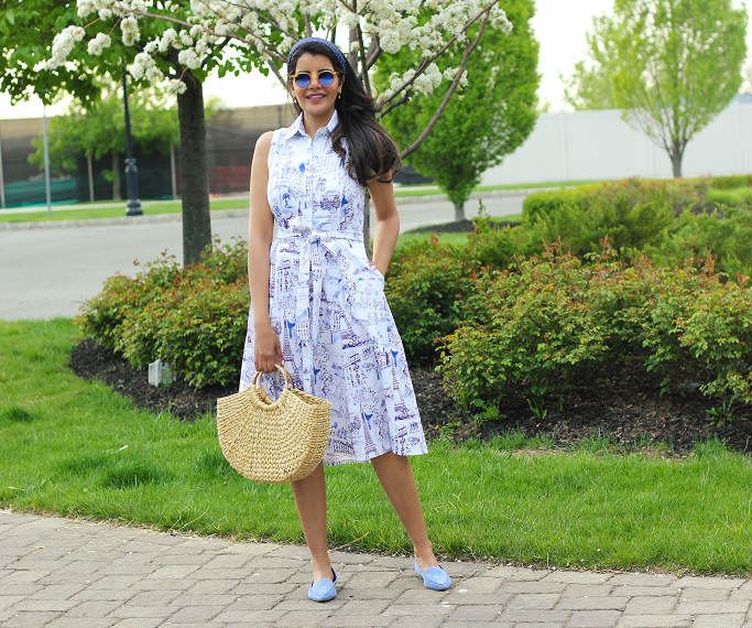 Shirt Dresses For Spring/Summer, Chetta B Paris Toille Print Shirt Dress, Straw Bags With Circle Handle, Blue Suede Loafers, what to wear to a garden party