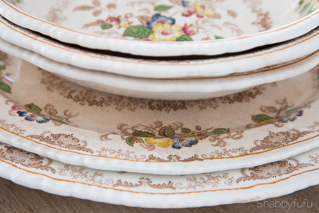 thrift store ironstone plates