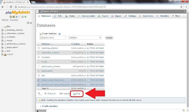 Cara Menghapus Database di PhpMyAdmin