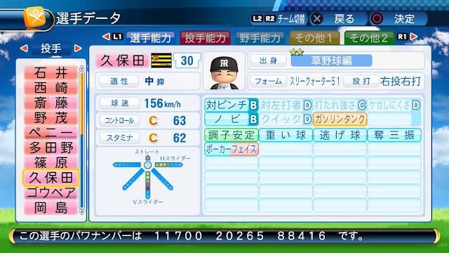 パワプロ2016でパワナンバー配布。阪神でJFKとして活躍した久保田智之投手