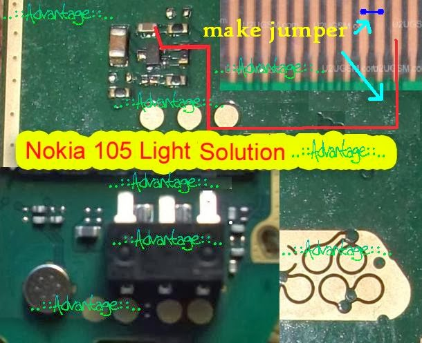 This Post i will share with you how to fix nokia 105 display light problem. if your device is water damage after clean this call phone show this problem. try little hot air on this mother board if call phone is not fix. follow this diagram.