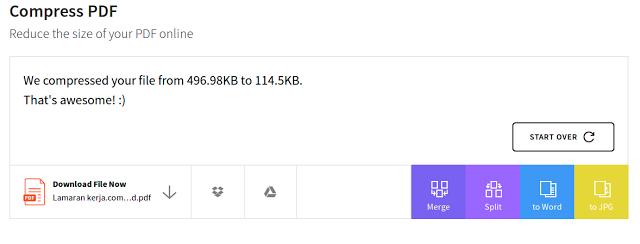 Cara mengecilkan PDF Menjadi 100KB