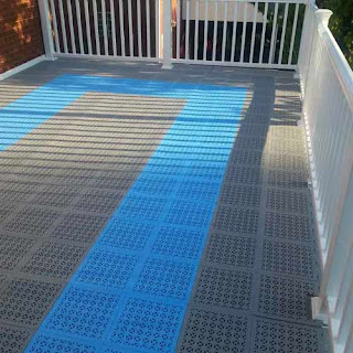 Greatmats staylock perforated tiles blue gray patio flooring children