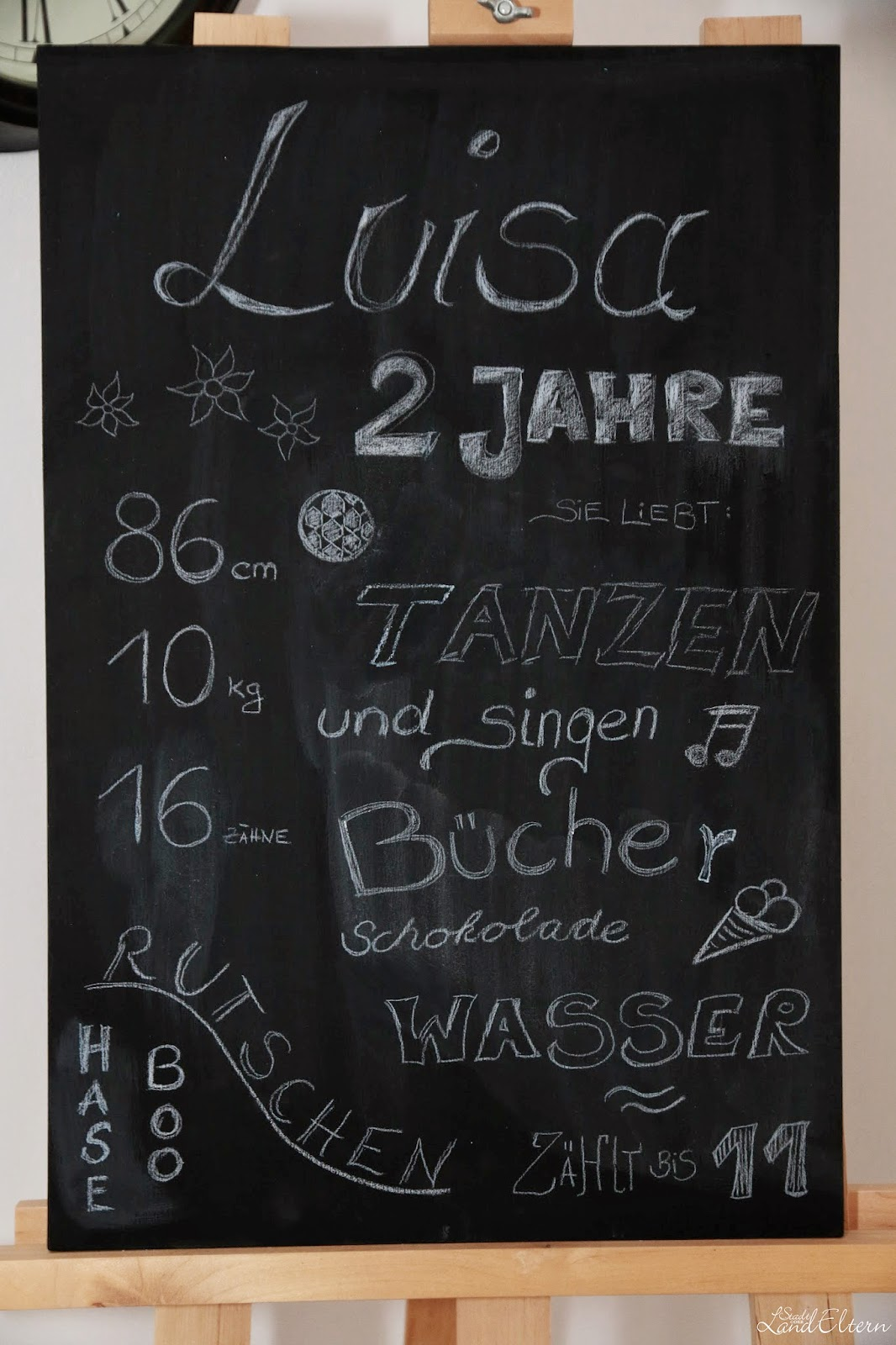 Stadtlandeltern Lus 2. Geburtstag - Tafel