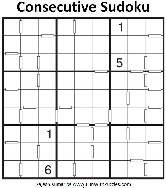 Consecutive Sudoku Puzzle (Fun With Sudoku Series #263)