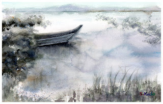 水彩画 小舟 Watercolor A small boat.