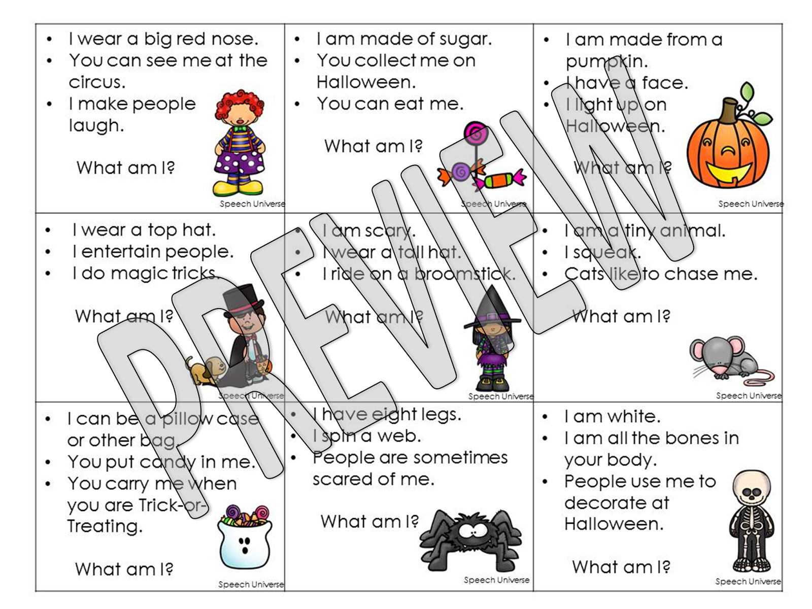 Auditory Halloween Sentences Stories And Riddles