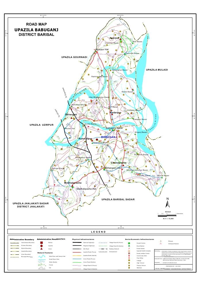 Babuganj Upazila Road Map Barisal District Bangladesh