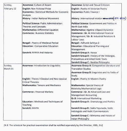 IDOL Guwahati University MA/ M.Sc/ M.com 1st & 3rd Sem Examination Schedule