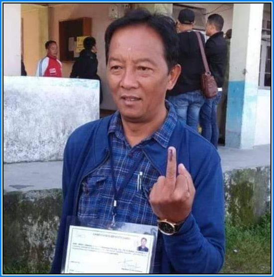 Binay Tamang showing middle fingure after Casting his vote on Darjeeling Byelection