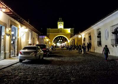 Santa Catalina Arch in Antigua, Guatemala at night