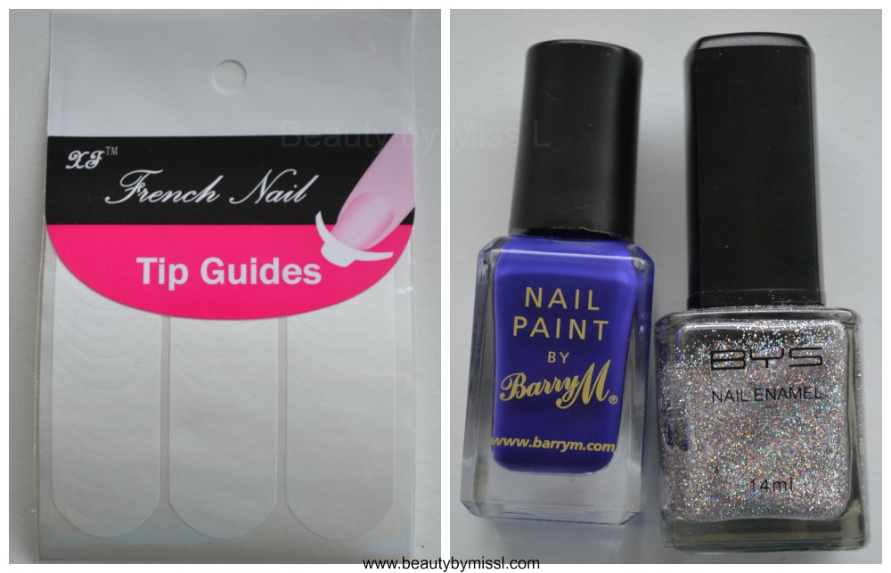 French nail tip guides, Barry M Indigo, BYS Glitter Crystal