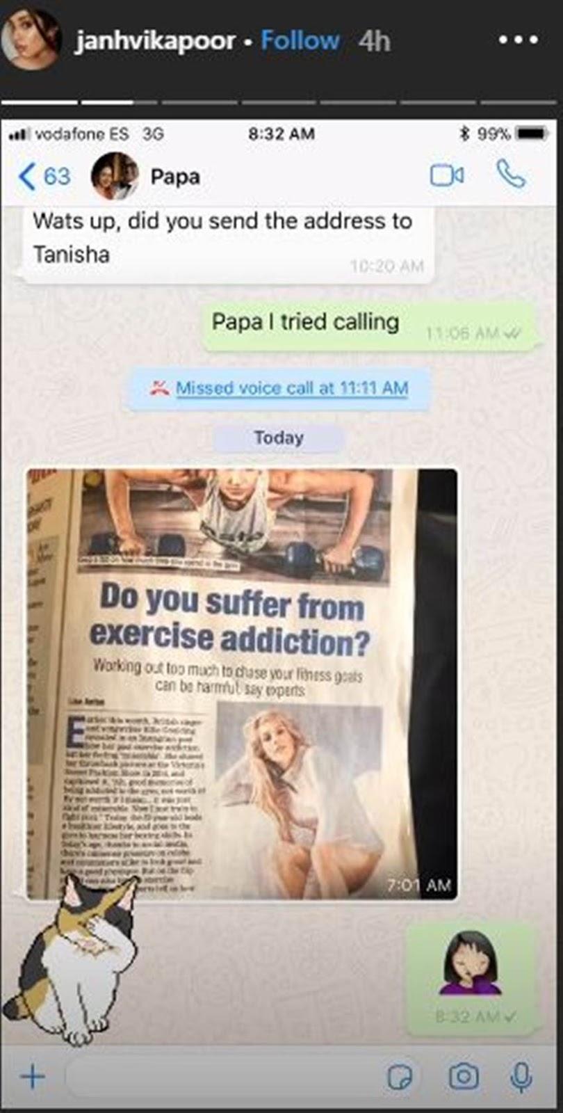Jahnavi Kapoor and his father Bonnie Kapoor's Jahnavi Kapoor whatsapp Chat is getting viral