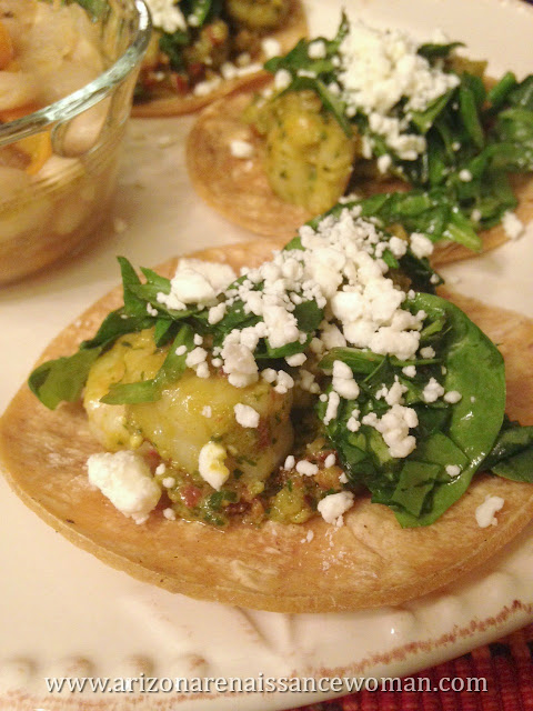 Shrimp Tacos with Basil, Sun-Dried Tomato, Feta, and Macadamia Nut Pesto