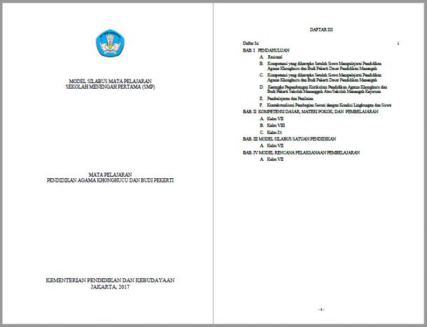 Silabus RPP Pendidikan Agama Khonghucu dan Budi Pekerti SMP Kurikulum 2013 Kelas VII, VIII, IX