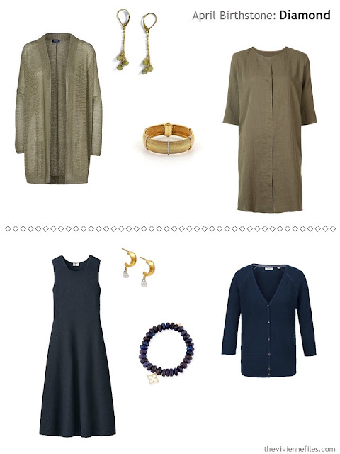 diamond-accented jewelry worn with olive, and with navy