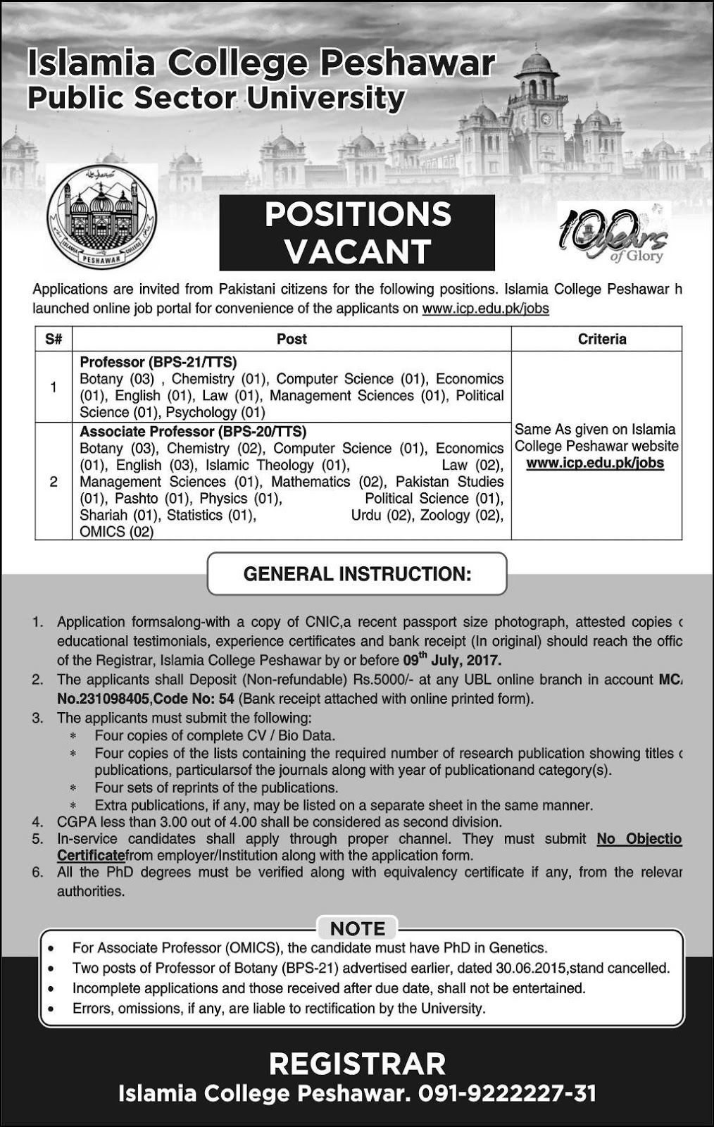 Bps-20 to 21 Jobs In Islamia College Peshawar / Public Sector University 8 June 2017