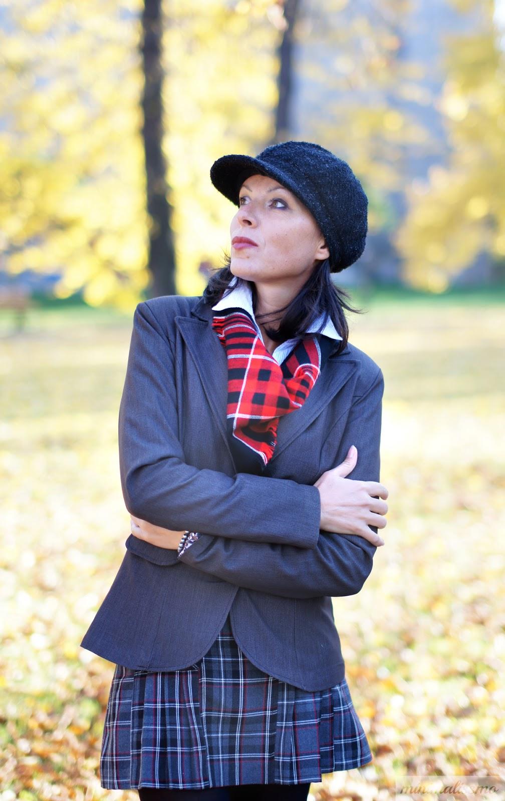 college, coat, jacket, street shoes, mini skirt, scarf