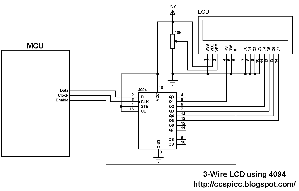 3 wire lcd display circuit using 74hc4094 shift register [ 1265 x 808 Pixel ]