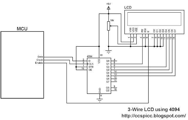 3-Wire LCD display circuit using 74HC4094 shift register