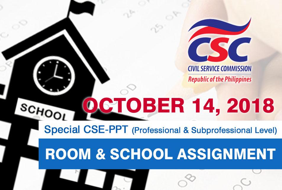 Civil Service Exam PH: Region 5 Room and School Assignment: October