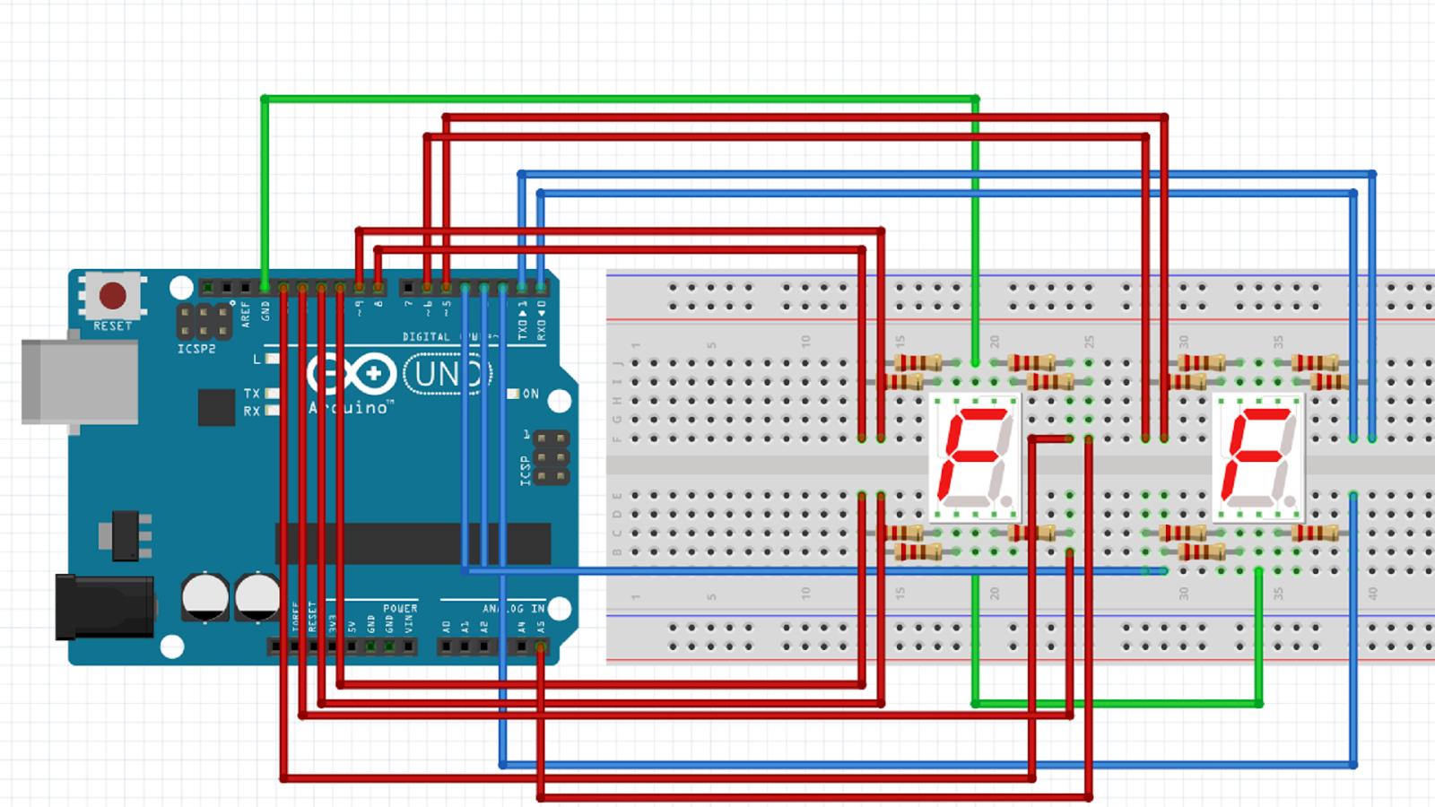 Arduino基本實習操作:七段顯示器計1數到60