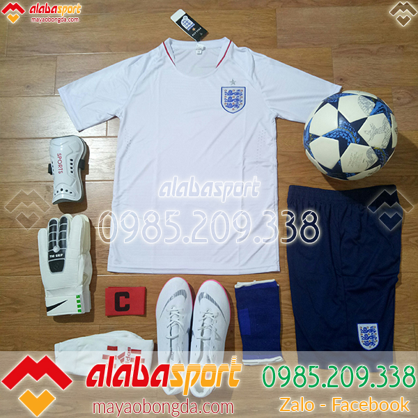 quần áo đá bóng đội tuyển anh trắng 2018