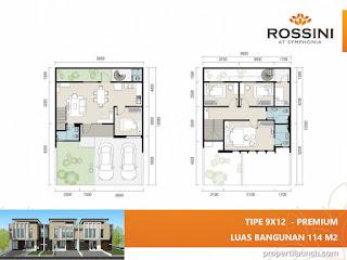 Denah rumah cluster Rossini tipe L9 Premium