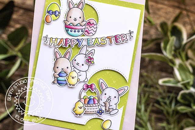 Sunny Studio Stamps: Staggered Circles Dies Chubby Bunny Happy Easter Card by Eloise Blue