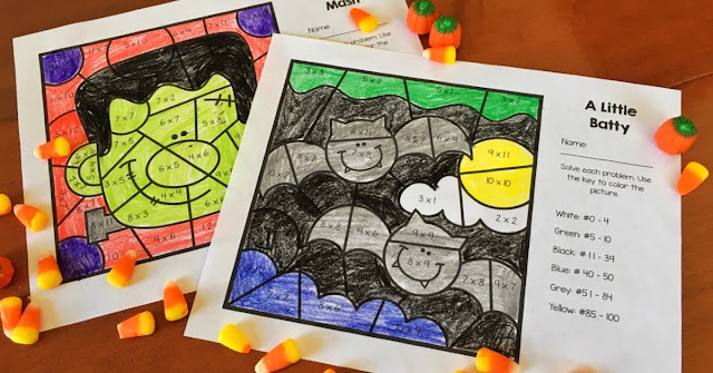 FREE Halloween multiplication facts color-by-number worksheets
