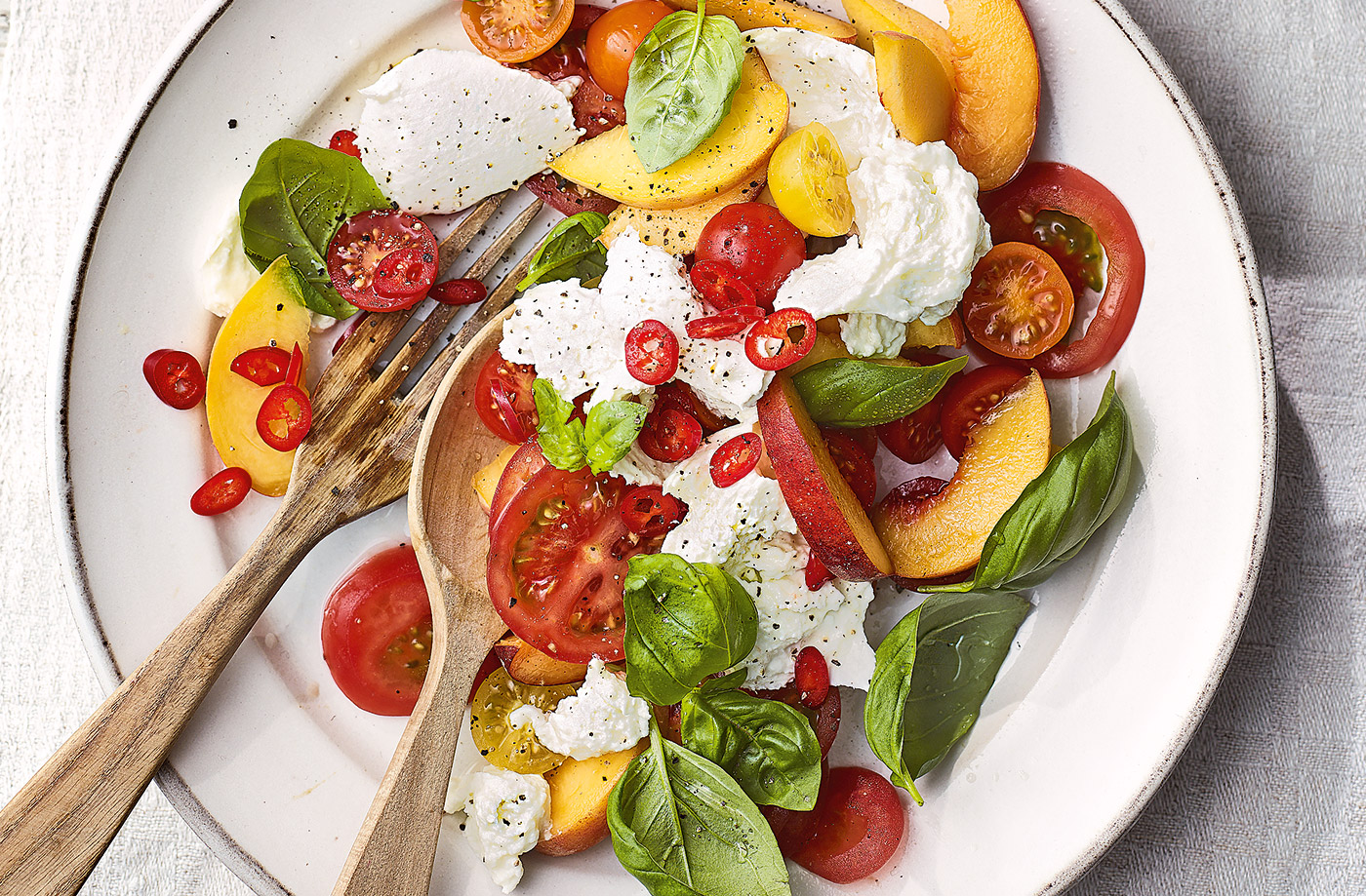Salad Recipe Suggestions Mozzarella-peach-and-mixed-tomato-salad-