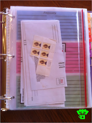 Household Management Binder with mailing supplies