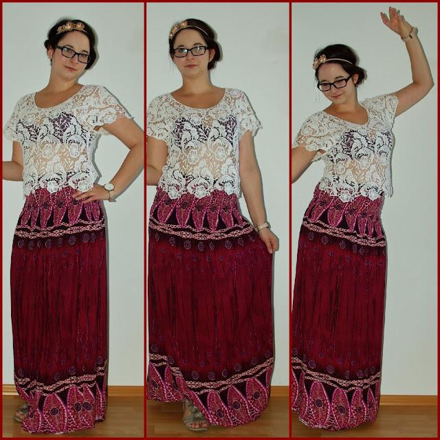 [Fashion] Be Wild Gypsies Boho Maxi Skirt with Lace Top  Boho Maxirock mit Spitzentop