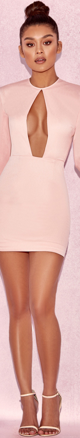 HOUSE OF CB 'SARENA' BLUSH SATIN SLIT SLEEVE DRESS