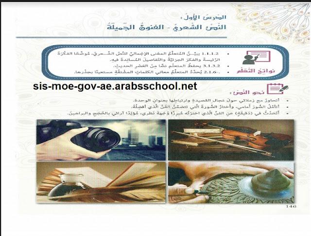 حل درس الفنون الجميلة في اللغة العربية للصف الثامن الفصل الدراسي الاول