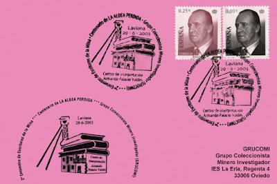 """Tarjeta del 2º Encuentro de Escritores de la Mina de GRUCOMI en el Centenario de """"La Aldea Perdida"""" de Armando Palacio Valdés. Laviana"""