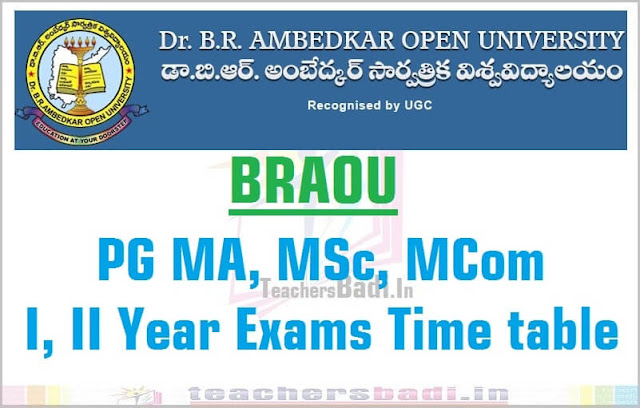 BRAOU,PG Exams,Time table 2016