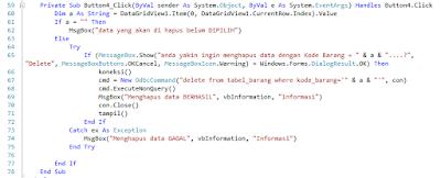 4 - Tutorial Vb.Net - Cara Menciptakan Tombol Delete Database Mysql Memakai Connector Odbc