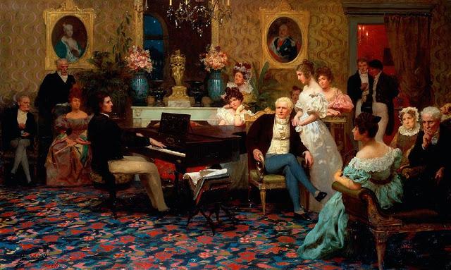 Hendrik Siemiradzki - Chopin tocando el piano en el salon del principe Radziwills - 1887