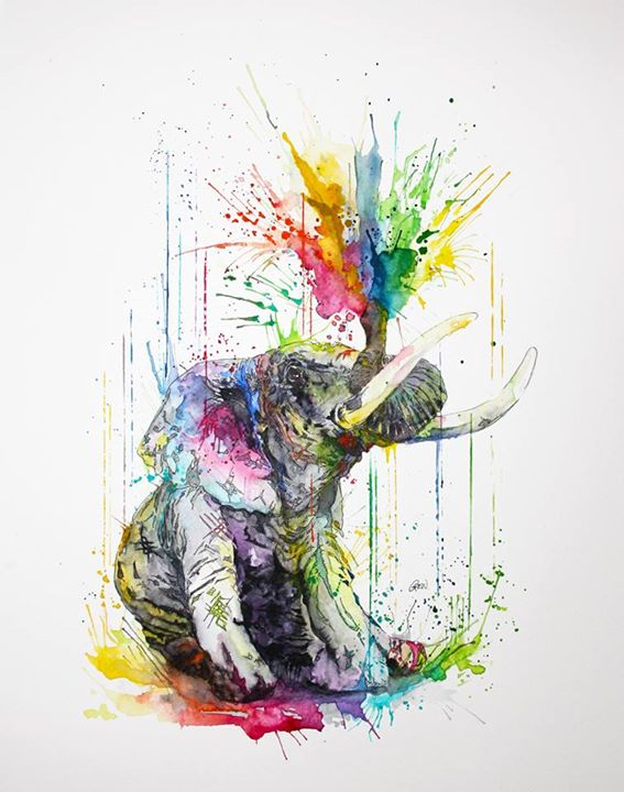 01-Elephant-Philipp-Grein-Animal-Paintings-in-Splashes-of-Color-www-designstack-co