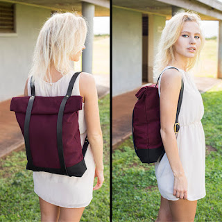 woman wearing simple modern foldover backpack from Intericon
