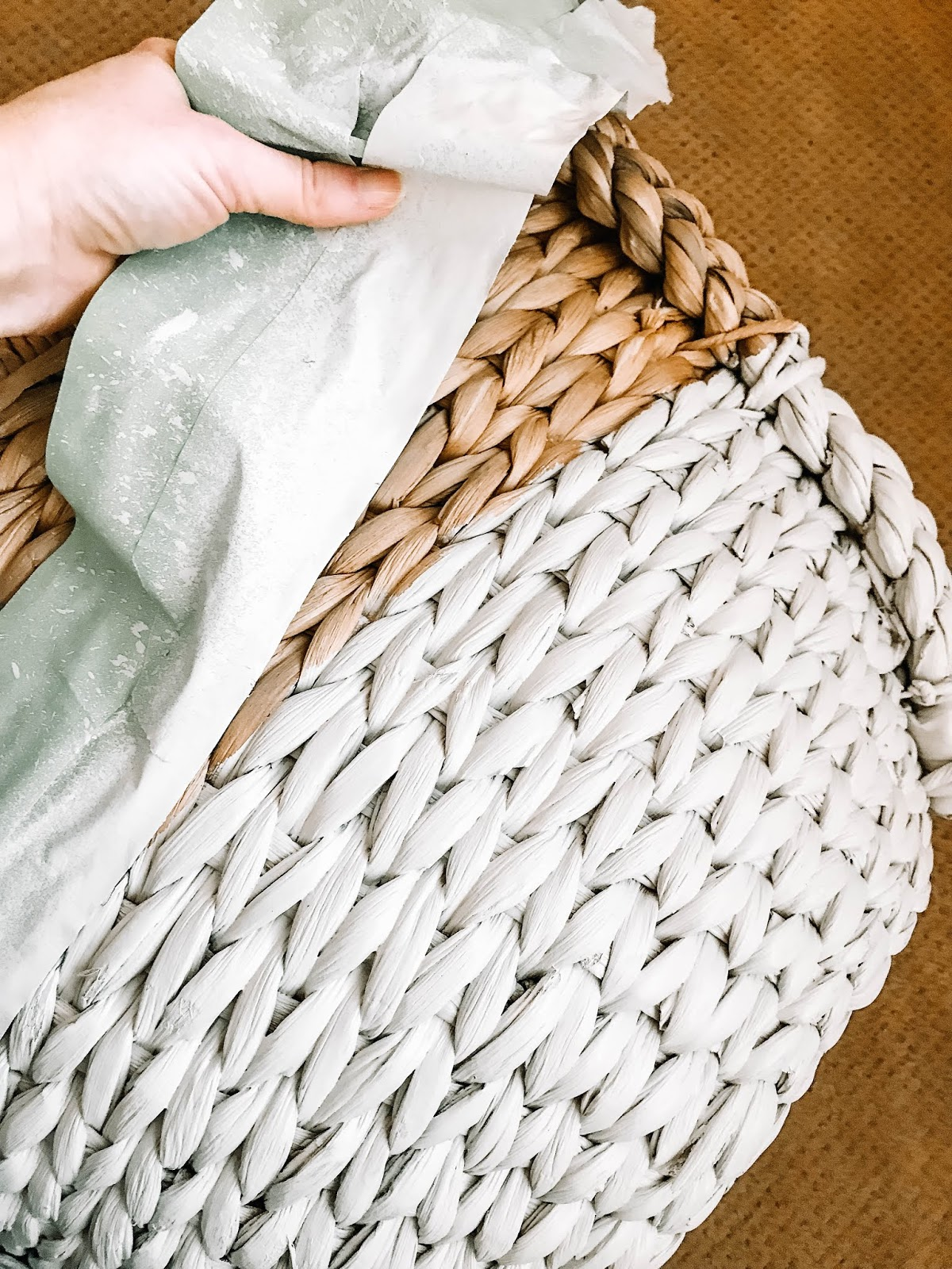 spray painted two toned woven basket