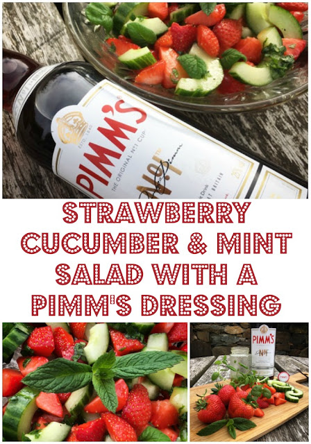 www.foodiequine.co.uk It's Pimm's o'clock! The quintessential taste of a British Summer becomes one of your five-a-day in this sensational seasonal salad. Ideal for picnics, parties and barbecues and of course for watching Wimbledon. Enjoy al-fresco dining this summer with my Strawberry, Cucumber and Mint Salad with a Pimm' s Dressing