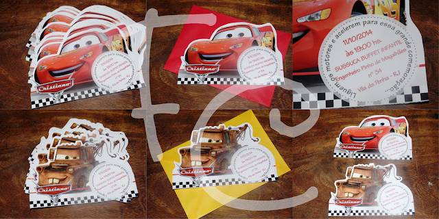 Convite Formato McQueen / Matte - Carros Disney - Cars