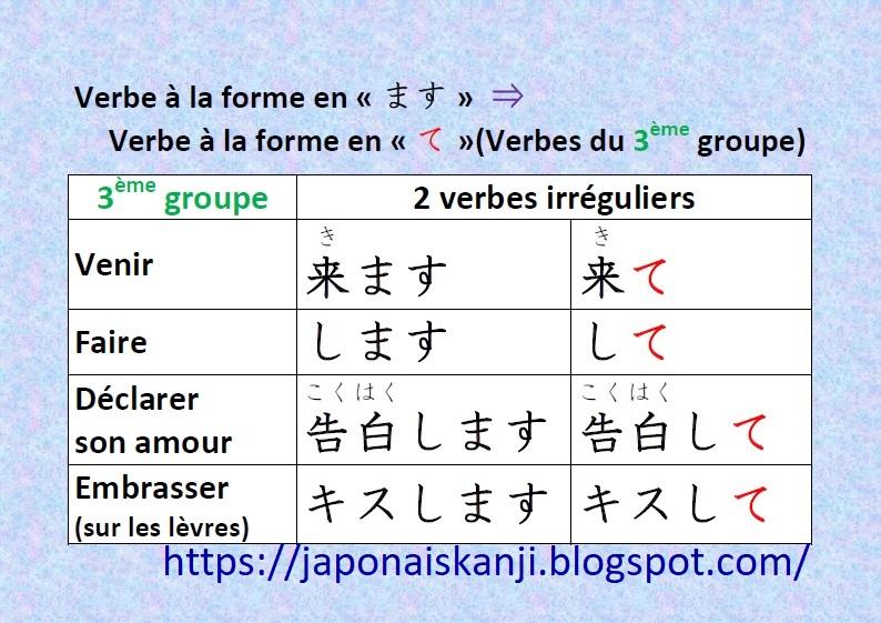 Japonais Kanji Ɨ¥æœ¬èªž Ƽ¢å— Verbes A La Forme En Te 3eme Groupe