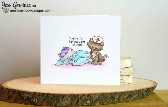 Nurse Appreciation Card by Jess Gerstner | Newton's Sick Day Cat Stamp set by Newton's Nook Designs #newtonsnook